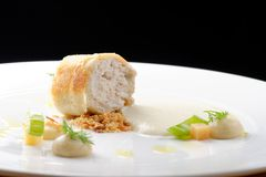 Fine dining, Trout fish fillet breaded in herbs and spice Stock Photography