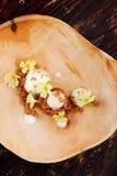Fine dining, Vanilla ice cream with almond crust Stock Photo