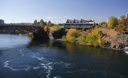Fine dining with view of the spokane river and bridge in spokane washington Stock Image