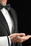 Fine Dining Waiter, Open Hand, Side View Stock Photo