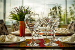 Fine Dinning. Elegance shot of fine dinning set in hotel restaurant. Vacation and leisure theme Royalty Free Stock Photo