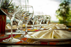 Fine Dinning. Elegance shot of fine dinning set in hotel restaurant. Vacation and leisure theme Stock Images