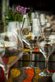 Fine Dinning. Elegance shot of fine dinning set in hotel restaurant. Vacation and leisure theme Royalty Free Stock Image