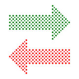 Fine  Dotted Red and Green Arrows Stock Photography