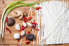 Fine dried noodles and Spices Stock Photos