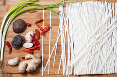 Fine dried noodles and Spices Stock Photo