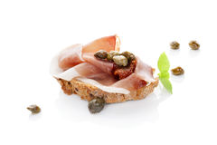 Fine eating. Luxurious canape. Royalty Free Stock Photography