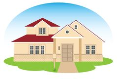Fine family house. The vector illustration of the modern, multilevel, suburban house, contains EPS8 Royalty Free Stock Photos
