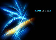 Fine fantastic fractal. Card with abstract blue and yellow fractal on black Stock Photography