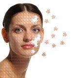 Fine femminile del fronte in su e puzzle dei particolari Fotografia Stock