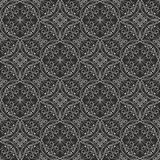 Fine filigree lace ornament, white drawing on black background, geometric seamless patterns in victorian style Stock Images