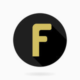 Fine Flat Icon With Letter F. Fine golden letter F in the black circle. Flat design and long shadow Royalty Free Stock Image