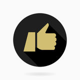 Fine Flat Icon With Thumb Up. Fine icon with thumb up in circle. Flat design with long shadow. Black and golden colors Royalty Free Stock Photography