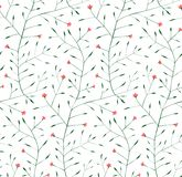 Fine Floral Ornament Seamless Pattern Background. Delicate grass and flowers illustration. Vector EPS8 Royalty Free Stock Image