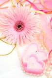 Fine flower and candle Royalty Free Stock Images