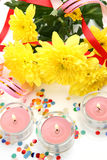 Fine flowers and candles Stock Images