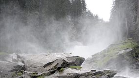 Fine fog at waterfall stock footage