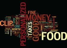 Fine Food Can Be Easy On The Personalized Money Clip Text Background Word Cloud Concept Stock Photo
