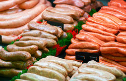 Fine food Speciality sausages Stock Photos