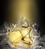 Fine fragrances. In Christmas fantasy environment. Fine fragrances in a concept gift set. Christmas fantasy environment. Stardust effect Stock Image