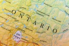 Fine geografica della mappa di Ontario immagine stock