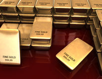 Fine Gold. 3D illustration looks a many bars of fine gold Stock Photo