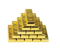 Fine gold 999,9. Ingots of gold combined by a pyramid Stock Photos
