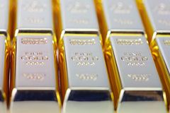 Fine gold 999,9. Set of gold ingots Royalty Free Stock Photography