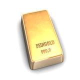 Fine Gold Bar. 3D illustration looks fine gold bar on the white background Stock Image