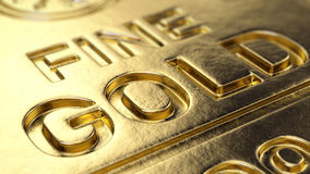 Fine Gold Bar macro. 3d illustration Stock Image