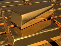 Fine Gold bars. 3D rendering of stacked fine gold ingots Royalty Free Stock Image