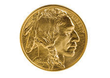Fine gold Buffalo Coin on white background. Obverse side of American Gold Buffalo coin, fine gold, isolated on pure white background. Coin in pristine condition royalty free stock image
