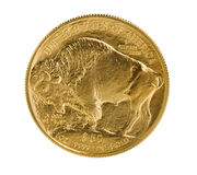 Fine gold Buffalo Gold Coin on white background Royalty Free Stock Image
