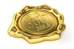 Fine Gold 999.9. Realistic Gold Seal : Fine Gold 999.9 Stock Photo