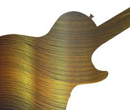 Fine Gold Thread As Guitar Silhouette. Fine gold thread below an electric guitar silhouette all over a black background Stock Image