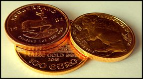 Fine gold. Three Ounces of Fine Gold Royalty Free Stock Photos