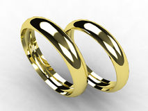 Fine gold wedding bands. 3D Stock Photography