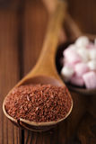 Fine grated chocolate and marshmallow candy Stock Photos