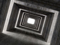 Fine image 3d of concrete tunnel and lateral light Stock Photos