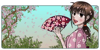 Fine Japanese Lady with Fan. Fine anime style japanese lady in kimono holding a fan Stock Photography