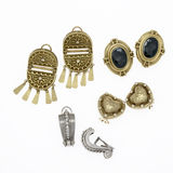 Fine Jewelry. 4 pairs of vintage pierced earrings Royalty Free Stock Images