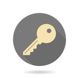 Fine Key Flat Icon. Fine golden key icon in the circle. Flat design and long shadow Stock Photos