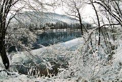Fine lace. Fine lace - a Blue lake in Balkaria, Caucasus, Russia Stock Photography