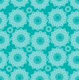 Fine lace star shapes in white line drawing on trendy green background, seamless vector patterns Royalty Free Stock Photography