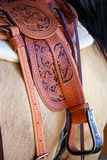 Fine Leatherwork. Vertical closeup image of a saddled horse, featuring fine leatherwork hand tooling Stock Images