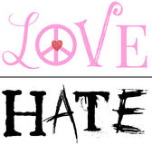 A Fine Line Between Love and Hate. An illustration using the words Love and Hate seperated by a fine line and isolated on a white background to represent the Stock Photos