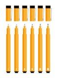 Fine Line Pens. Art Studio Tools Illustrations Royalty Free Stock Images