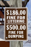 Fine for littering and dumping. Warning sign for littering and dumping Stock Images