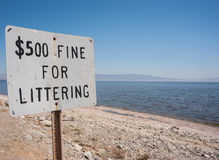 Fine for littering sign Royalty Free Stock Photo