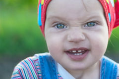 Fine Little Girl Pull Faces Royalty Free Stock Photography